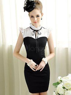 Chic Black Ruffles Polyester Sleeveless Women's Bodycon Dress