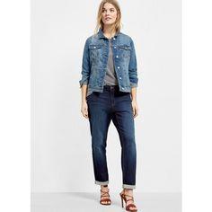 Violeta BY MANGO Medium Denim Jacket ($100) ❤ liked on Polyvore featuring outerwear, jackets, medium blue, plus size, blue jean jacket, plus size jean jacket, long denim jacket, blue jackets and blue denim jacket
