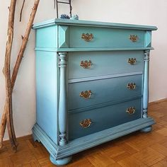 Ombres and blending techniques are simply glorious! Yummy artistic furniture d Dresser Makeovers artistic Blending Furniture Glorious Ombres Simply Techniques Yummy Bedroom Furniture For Sale, Refurbished Furniture, Repurposed Furniture, Shabby Chic Furniture, Furniture Projects, Furniture Makeover, Home Furniture, Furniture Design, Dresser Makeovers