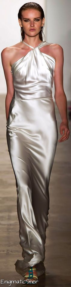 Sophie Theallet ~ Summer White Satin Halter Maxi Dress 2015