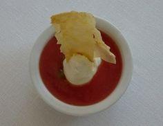 Gazpacho di pomodoro, cuore di ricotta & sfogliatina di polenta