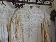 Antique Ruffled Nightgown Victorian Clothing White Cotton Nightdress