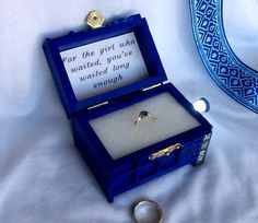 For The Girl Who Waited, TARDIS Wedding Ring Box With LED Light Handmade Tardis Engagement Ring Box Doctor Who Proposal Box, Made in USA