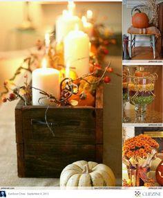 Upper right corner...chair, pumpkin, throw, corn stalks