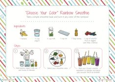 Tips and advice on cooking with your kids. Rainbow Smoothies, Smoothies For Kids, Easy Smoothies, Kids Cooking Recipes, Cooking Classes For Kids, Kids Meals, Kid Recipes, Dinner Recipes, Kids Baking Championship