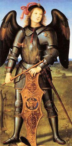 welovepaintings:  PERUGINO, Pietro Italian painter, Umbrian school (b. 1450, Citta della Pieve, d. 1523, Perugia)  Archangel Michael c. 1499 Oil and tempera on poplar panel, 126 x 58cm National Gallery, London