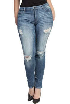 TheMogan Women's Distressed Ripped Blue Washed Skinny Jeans Medium 3XL. Low rise. Basic 5 pockets styling. Ripped details with whiskering. Skinny legs. 98% cotton, 2% spandex.