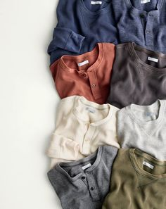 What we do at J.Crew: vintage details. Inspired by the rugged base layers worn by soldiers in World War I, these henleys and crewnecks from our Wallace & Barnes collection are made with flat-stitched seams for comfort and thermal cotton for warmth. To pre-order, call 800 261 7422 or email verypersonalstylist@jcrew.com.