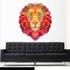 lion wall art works well for almost any room within your home. Especially for kitchens, offices, living rooms and bedrooms.  Great if you love cat wall art, animal wall art or even nature wall art. #lion #art #wallart #catdecor #decor #homedecor  Full Color Wall Vinyl Sticker Decals Decor Art Bedroom Wall Decal Design Mural Lion Leo Lev Lew Triangle (Col755)