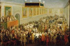 Le Banquet du Sacre de Louis XV a Reims, 25 Octobre 1722 se déroulant en la salle du banquet du palais du Tau. Pierre-Denis Martin