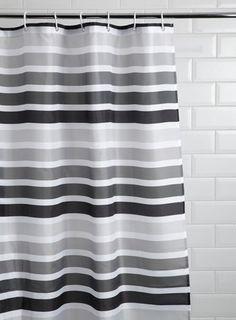 Monochrome Horizontal Stripe Shower Curtain