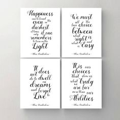 Set of 4. Harry Potter Print. Printable Poster. Happiness. Choice. Dwell. Albus Dumbledore Quote. Wall Print. Inspirational Art Print. by MyPrintableDream on Etsy