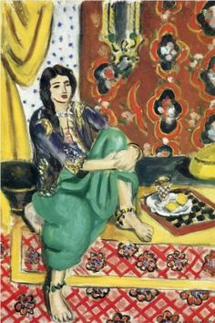 Henri Matisse ~ Odalisque sitting with board 1928. Just saw this at Duke University. This photo doesn't do the vibrant colors justice.