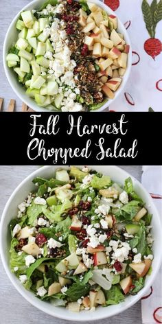 This chopped salad contains all your favorite fall flavors from sweet apples and tart cranberries to crunchy pepitas and salty feta. Try this for an easy weeknight dinner! Fall Harvest Chopped Salad GoodFoodMadeSimple gfmsimple LUNCH Recipes This c Soup And Salad, Pasta Salad, Tuna Pasta, Mix Salad, Shrimp Pasta, Chicken Salad, Clean Eating Snacks, Healthy Eating, Clean Lunches
