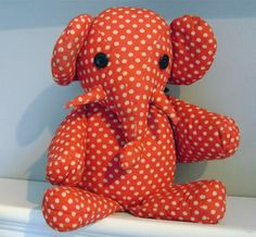 antique vintage handmade red polka dot stuffed toy elephant. Mine was blue;)gonna figure this out!!