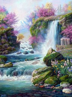 Nature paintings landscape scenery 26 Ideas for 2019 Nature Paintings, Cool Paintings, Painting Art, Portrait Paintings, Painting Abstract, Acrylic Paintings, Fantasy Landscape, Landscape Art, Japanese Landscape