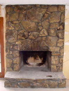 Sandblast rock fireplace
