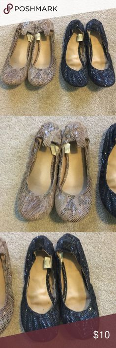 """Old Navy Flats 2 pair of Old Navy flats. One black. One nude/black """"snakeskin"""". Size 9. Worn, but still have lots of life left in them. Wish I could keep them, they are just snug on me. Old Navy Shoes Flats & Loafers"""