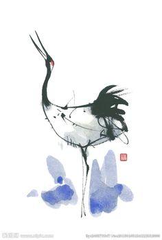 中国画鹤 Japanese Painting, Chinese Painting, Japanese Art, Hallway Art, Sumi E Painting, Organic Art, Tinta China, Samurai Art, China Art