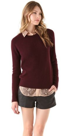 @Lauren Rigsby here, here is a burgundy sweater for you to wear that gawd-awful pink corduroy shirt under. i think this would look good.