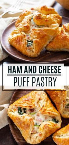 This delicious Ham and Cheese Puff Pastry must make your post-holiday menu. It is a great way to use up leftover ham and it tastes like a gourmet treat! Brunch Recipes, Appetizer Recipes, Appetizers, Breakfast Puff Pastry, Puff Pastry Recipes Savory, Spinach Puff Pastry, Pastries Recipes, Ham And Cheese, Swiss Cheese