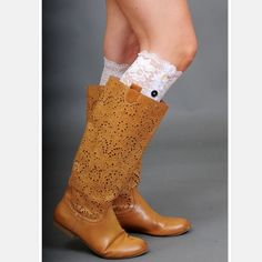 Lace Boot Cuffs White lace boot cuffs.  One size fits most.  Lowest prices are listed upfront. Accessories
