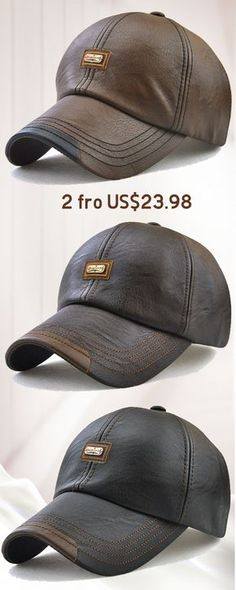 ce413571a Men PU Leather Vintage Baseball Cap Casual Outdoor Adjustable Warm  lightness Hats is hot sale on Newchic.
