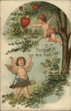Valentine Cupids Picking Hearts from Tree c1910 Postcard   eBay