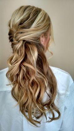 Hair by Christine Pay;long bridal hair; long bridal looks; #christinepayhairstylist; #brushworx; half updo