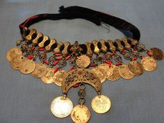 RARE Antique Turkish Ottoman Silver Coin Necklace Belt Jewelry