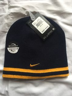 6b656a6ee4a New Nike Boys Beanie Hat Cap Size 8 20  18 Blue Yellow Gift Warm WVU  Reversible