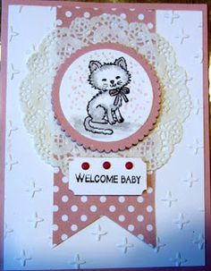Crafty Maria's Stamping World: Pretty Kitty Baby Cards