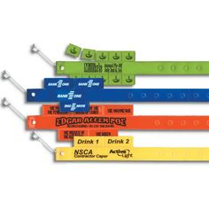 """These tear off tabs are ideal for food sales, amusement or water rides and all kinds of multi-functional entertainment. Now your patrons can pick up the tab with these versatile layered, non-reflective vinyl Tabbers (TM) wrist bands! They come with a choice of 2, 3, 5 or 10 tear-off tabs and are available in the same color options as the vinyl wristloks (R). Measuring 1 1/2"""" x 9 3/8"""", have your event name or logo printed for brand visibility!"""