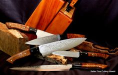 Combination chef/steak knife set in traditional block stand. Custom orders to fit your own personal needs are our specialty. www.SalterFineCutlery.com