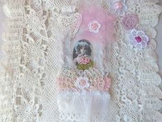 Collage Fabric, girl wall art, Gift Tags, Flowers Tags, Cottage Chic tag, Mixed Media Art Tag, Lace wall art