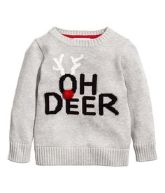 Knit cotton sweater with a printed, reflective motif at front and ribbing at neckline, cuffs, and hem. New Street Style, H&m Kids, Children, Cotton Jumper, Oh Deer, Boys Sweaters, Street Outfit, Ugly Sweater, Christmas Shopping