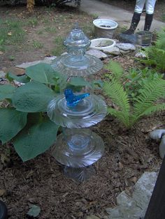 Repurposed Glassware=Garden Topiaries (easy project)
