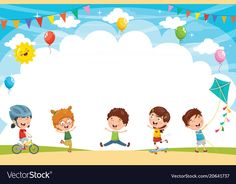 Kids playing outside Royalty Free Vector Image Happy Children's Day, Happy Kids, Drawing For Kids, Art For Kids, Creative Writing For Kids, Powerpoint Background Templates, School Border, Boarder Designs, Kids Background