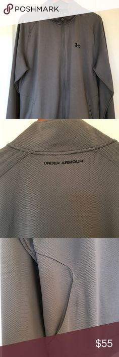 Under Armour Gray full zip jacket Under Armour Full zip gray jacket. Size L. Textured/mesh material. Excellent condition. Under Armour Jackets & Coats Performance Jackets