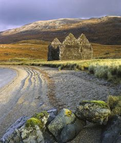 ༺✿༺ Loch Assynt, Sutherland. Close to Ardvreck Castle on Loch Assynt, is the double gable ended ruin of Calda House, owned by the 2nd Mackenzie of Assynt. Scotland.