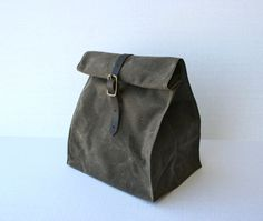 A better way to brown bag it!  This lunch sack is made from a favorite material of mine, waxed cotton canvas. It is beautiful, waterproof, and tough as