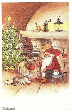 a postcard from Finland, illustrated by Irma Salmi in the All Things Christmas, Christmas Cards, New Year Postcard, All Holidays, Jingle Bells, Goblin, Beautiful Christmas, Yule, Gnomes