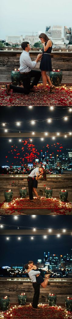 This rooftop proposal is so romantic, and the full story has us swooning! (How To Get Him To Propose Romantic) Proposal Pictures, Engagement Pictures, Wedding Engagement, Proposal Ideas, Surprise Proposal, Wedding Pictures, Romantic Proposal, Perfect Proposal, Romantic Weddings