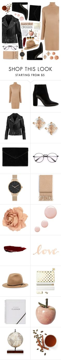 """Cozy and Cute: Sweater Dresses"" by lutsenkush ❤ liked on Polyvore featuring MICHAEL Michael Kors, Maje, Suzanne Kalan, Rebecca Minkoff, rag & bone, Chanel, Topshop, Primitives By Kathy, INC International Concepts and Zoffoli"