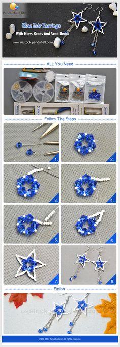 DIY blue satr earrings with Pandahall Elite glass beads and seed beads