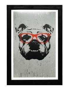 Portrait Of English Bulldog With Glasses. Canvas Print by Victoria Novak - LARGE English Bulldog Art, British Bulldog, English Bulldogs, All Poster, Poster Prints, Kunst Poster, Canvas Prints, Art Prints, Poster Making