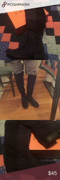Blue suede knee high pull on boots Gorgeous blue suede boots in size 11. EUC and the calves are generous. Unisa Shoes Over the Knee Boots