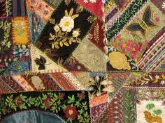 FLORAL EMBROIDERED ALLOVER CRAZY ANTIQUE QUILT persian blue border ... : crazy quilt definition - Adamdwight.com