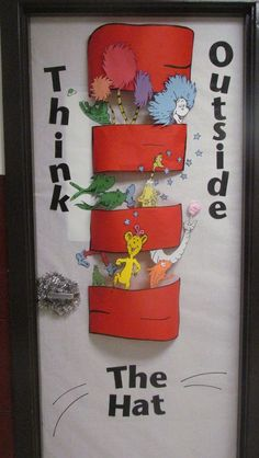 "Seuss ""Think Outside The Hat"" classroom door display. Seuss ""Think Outside The Hat"" classroom door display. Dr. Seuss, Dr Seuss Week, Classroom Displays, Classroom Themes, Science Classroom, Hallway Displays, Infant Classroom, Bilingual Classroom, Colegio Ideas"