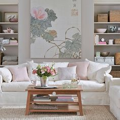 Clay and pink living room - oversized canvas print sets the mood
